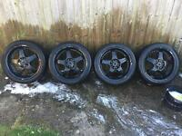 "Lenso rs5 17"" wheels and tyres 5x100 / 5x114.3"