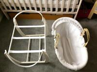 Mamas and Papas Moses basket and ivory stand