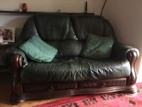 Suite comprising 3seater sofa, 2seater sofa, single chair and matching footstool.