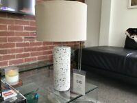Table lamp terrazo concrete base and cream shade