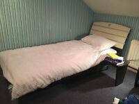 Modern wood and metal effect bed with mattress and bedside table