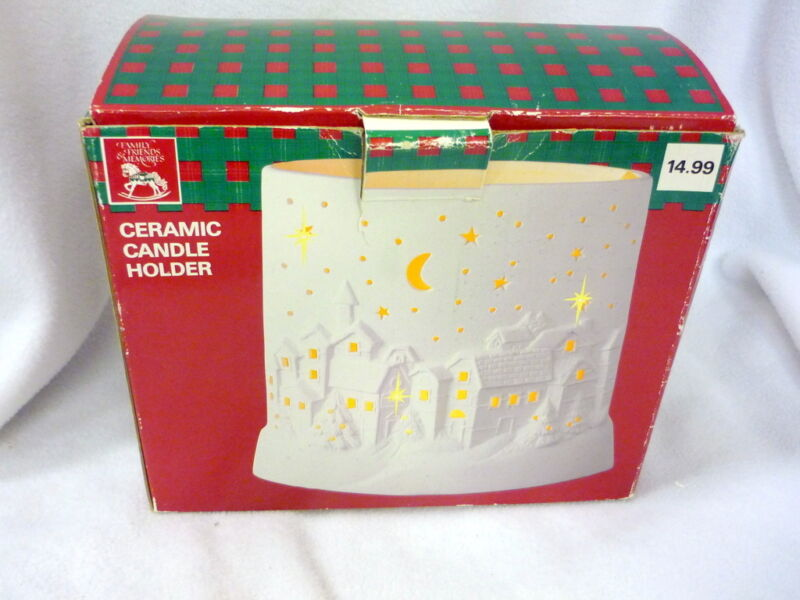 MIB CERAMIC CANDLE HOLDER CRESCENT MOON CHRISTMAS WHITE CANDLE INCLUDED