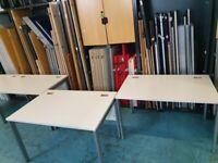 5 White single office business computer desks/tables (120cm x 80cm, 160cm x 80cm)