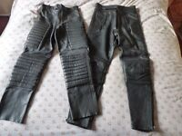 LEATHER MOTORBIKE MOTORCYCLE TROUSERS 1 PAIR AKITO