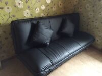 Italian black leather sofa bed