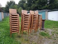 1950s Adult Size Stacking School Chairs (Can arrange courier delivery)