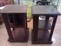 Pair of dark wood side tables