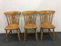 Three Rustic Farmhouse Pine Kitchen Chairs