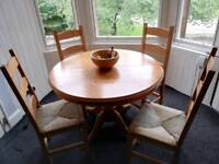 Extendable Dining Table and 4 Chairs, Pick up Required