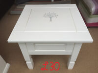 Solid pine Coffee table painted white with tree stencil