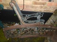 Cast iron bench ends with cast iron back section