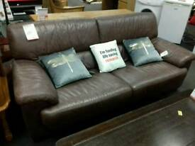 3+1 suite upholstered in brown leather