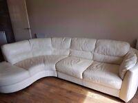 Cream leather sofa for sale £150 ono