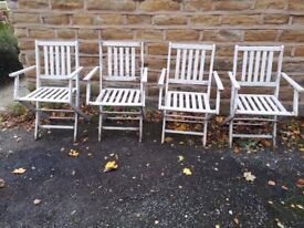 Set of 4 Four Shabby Chic Painted Teak Wooden Garden Chairs with Arms Folding Light Grey Solid Wood