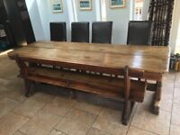9ft Antique oak refectory dining table