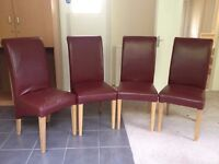 Four High back dinning chairs