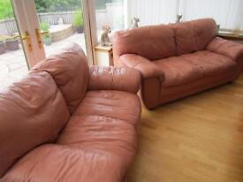 SALMON PINK LEATHER DOUBLE SOFAS
