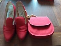 Silk fabric matching wedding or dance shoes. Size 6 with 2 inch heels. Good condition