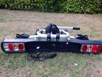 Foldable 2-Bike TowBar Bike Rack with electrics and locks. Unused.