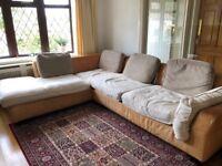Corner Leather and Fabric Sofa