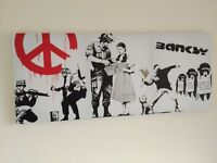 Banksy Canvas and another canvas