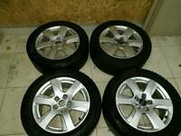 17 inch genuine audi vw alloys with winter tyres pcd 5x112