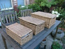 3 Whicker Type Picnic baskets That Fit Inside Each Other