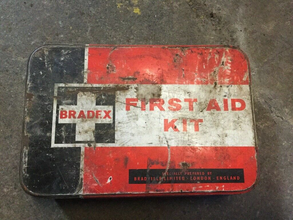 OLD EMPTY first aid tin great for collectors etc. MONEY 💰 for local cancer charity funds thanks 🙏