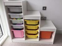 White Ikea Trofast Toy Storage With 10 Tubs