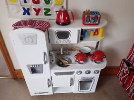 Solid wood white childs play kitchen & accessories