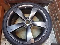 "Audi A4 (B8) 19"" rotor alloy wheels (used, refurbed) x4 plus tyres"