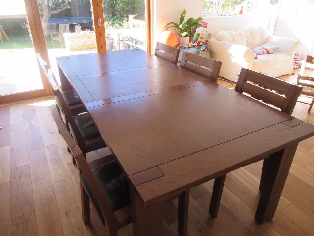 Large Marks and Spencer Sonoma extending dining table with 6 chairs    walnut colour. Large Marks and Spencer Sonoma extending dining table with 6