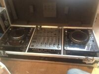 Cdj mk 3 1000s and flight case/coffin box mixer in picture not included