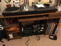 Wood Desk Table with drawer and shelves