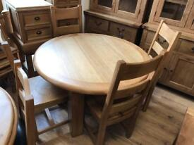 120cm Round Oak ding Table with rounded edges