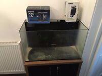 Aqua One 130 Litre Marine Aquarium Tank + Cabinet + 2x Protein Skimmers! + Accessories