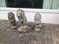 Three stone lions