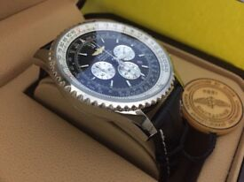 New Swiss Breitling Navitimer Black Dial Leather Strap CHRONOGRAPH Watch