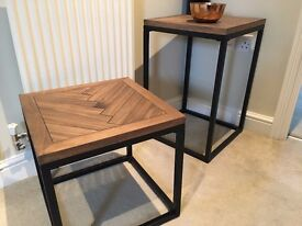 2 x Side Tables (matching in metal & polished wood). Great condition!