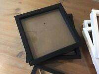 Wooden box frames, frame mounts and plastic sleeves
