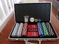 Poker set in metal carry case, never been used