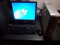 "Dell computer system, 2.4ghz-Dual core, Windows 7, 500gb Hdd, 4gb Mem, Dvd-rw, 17"" screen"