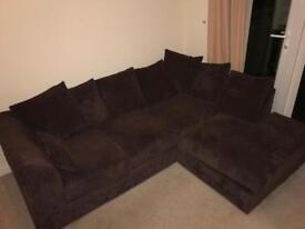 Sofa World chocolate brown L shaped sofa