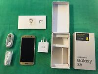 Samsung Galaxy S6 64Gb Gold (SM-G920F) Unlocked Fully Functional Original Box and Accessories