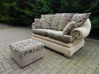 Funky Tiger Print 2 Seater Sofa + Pouffe