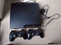 Sony playstation 3 250 gb with two controllers and all cables.