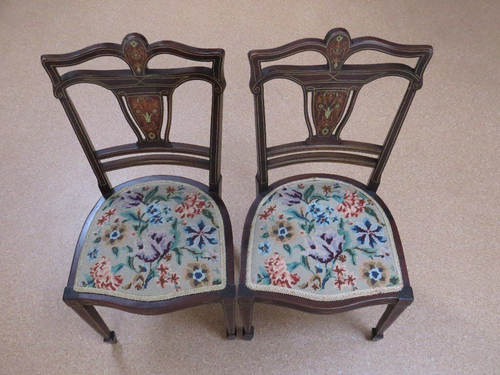 Pair Of Vintage Embroidered Side Chairs Fine Marquetry Backs In