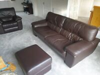 3 Seater DFS Leather Sofa with Footstool