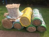 Rolls of glass wool insulation