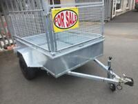 Car trailer 6x4 single axle trailer galvanised with mesh sides
